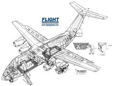 Hawker Siddeley HS146-100 cutaway drawing