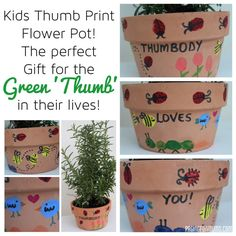 Thumb-body loves you. Kids Thumb Print Flower Pot! Gorgeous Mother's Day Craft!