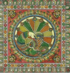 Indian Traditional Paintings, Indian Paintings, Traditional Art, Dot Art Painting, Madhubani Painting, Fabric Painting, Ancient Indian Art, Indian Folk Art, Mythical Birds