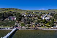 Spring in the Okanagan Valley, British Columbia. Lakeshore home overlook the crystal green waters of Okanagan Lake.