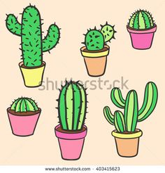 Cactus set. Vector collection of cactus. Hand Drawn Cactus. Pot Cactus set. Cartoon Cactus Illustration