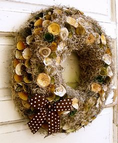 Paper flower wreath, fall, autumn, gold, brown, black, cream, polkadots