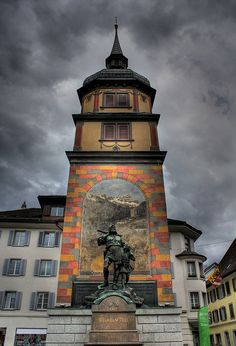 Wilhelm Tell statue in Altdorf where the legend supposedly happened -- Switzerland