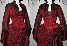 Victorian red bustle skirt corset by ~AtelierSylpheCorsets