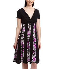 This Black & Purple Abstract Empire-Waist Dress by Avital is perfect! #zulilyfinds