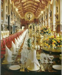 St. George's Hall Windsor Castle, Windsor England.  This is a huge hall--55.5 m x 9 m.  This picture shows it set up for a state banquet.  As no pictures are allowed inside,this is a scan from the Official Souvenir Guide of Windsor Castle page 52.