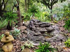 This lush space sits alongside Ferny Hill Retreat's guest patio. The tinkling sounds of water are very calming. Holiday Apartments, Romantic Couples, Calming, Be Perfect, Lush, Emerald, Waterfall, Clouds, Patio