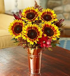 Capture the glowing colors of #Autumn with these copper-colors #sunflowers!