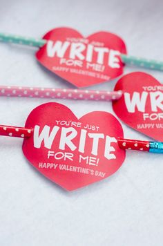 Valentine PRINTABLE 'You're Just Write for Me' Valentine Tag by Love The Day. $5.00, via Etsy.