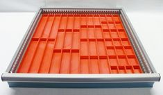"""37 PC Red Plastic Box Assortment 1"""" Deep / Four (4) SIZES - Schaller Corporation Plastic Tool Box, Plastic Bins, Tool Storage Cabinets, Storage Bins, Storage Ideas, Drawer Dividers, Drawer Organisers, Wood Chip Mulch, Warehouse Shelving"""