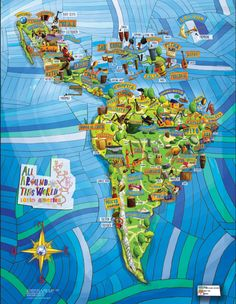 Our one-of-a-kind All Around This World Musical Map of Latin America is here!  Uruguayan illustrator Gustavo Wenzel created a fun, family-friendly and fully illustrated map of any part of the world–in this case Latin America–that serves as a geographical guide to that region's main musical styles and instruments.