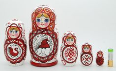 5 piece russia doll folk matryoshka nesting doll from ArtMatryoshka by DaWanda.com