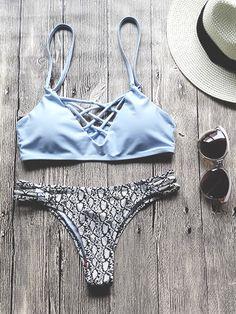 Light Blue Strappy Bikini Set