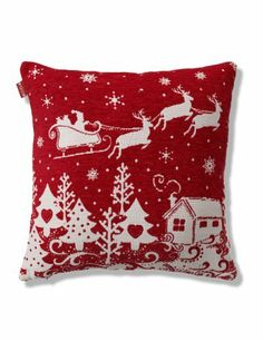 Santa Sleigh Chenille Cushion - Marks & Spencer