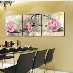 3 unidades peonía flores pintura de la lona de la pared pictures para sala de estar Cuadros decoración rojo Pastoral Quadro imagen 2016 No Frame(China (Mainland))