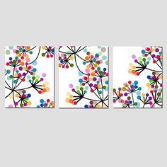 Modern Decor Black and White Colorful Dots Botanical Trio-Set of Three Coordinating Floral Prints-Modern Floral Art on CANVAS - Modernes Dekor Schwarz bunte Punkte botanische Trio von Tessyla - Art Floral, Floral Prints, Art Prints, Canvas Prints, Modern Kids Decor, Modern Wall Art, Modern Prints, Art Diy, Diy Wall Art