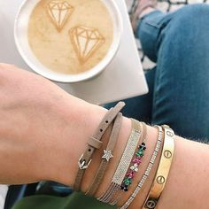 When you have diamonds in your coffee, you know it's gonna be a good day! Can you spot the new EF Collection? Living in my new rainbow trio bracelet, can't wait to share the EFC newness with you this week! Xo, EF