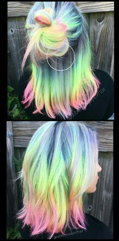 Pastel rainbow hair @rebeccataylorhair  Beauty: Fantasy Unicorn Purple Violet Red Cherry Pink yellow Bright Hair Colour Color Coloured Colored Fire Style curls haircut lilac lavender short long mermaid blue green teal orange hippy boho ombré woman lady pretty selfie style fade makeup grey white silver trend trending  Pulp Riot