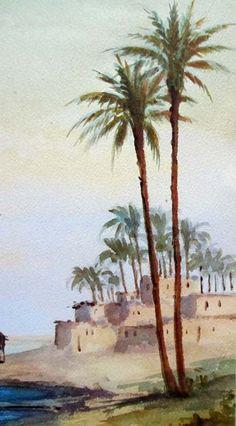 Camel and Figure Near Pyramids, watercolour, signed A. Marchettini, c1890.
