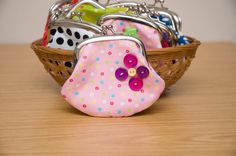 Small coin purse  button detail  pink with by moodycowdesigns, $15.00