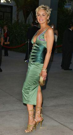 Sharon Stone stunning green mandalay dress ...