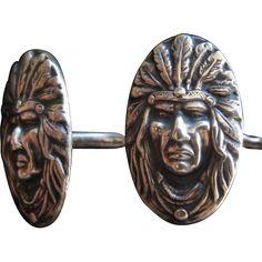 Unger Bros Indian Chief Sterling Silver Cufflinks