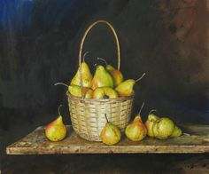 Atanas Matsoureff basket of pears 2008 Watercolor Landscape Paintings, Watercolor Artists, Be Still, Still Life, Elements Of Nature, Painted Rocks, Rose, Vibrant Colors, Basket