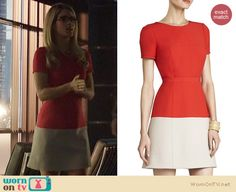 Felicity's red and cream colorblock dress on Arrow. Outfit Details: http://wornontv.net/22519 #Arrow