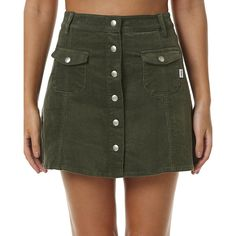 Rhythm Pennylane Womens Skirt ($51) ❤ liked on Polyvore featuring skirts, fashion skirts, green, women, a-line skirt, knee length a line skirt, high waisted a line skirt, a line corduroy skirt and high-waist skirt