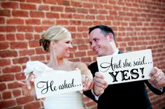 He asked - And she said YES - wedding signs - photo props - engagement photos (w-023). $25.00, via Etsy.