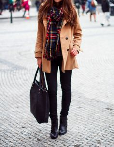 Khaki + Plaid + Black #casual #fall #autumn #winter #outfit
