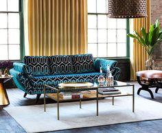 Robert Allen Custom Sofa And Dwellstudio Modern Caravan Fabrics In Pursuit
