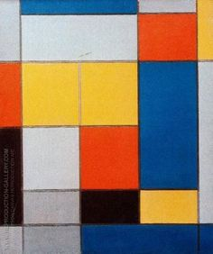 Composition with Red, Blue and Yellowish-Green 1920 By Piet Mondrian. Replica Paintings on Canvas - Reproduction Gallery Famous Art Paintings, Popular Paintings, Oil Paintings, Piet Mondrian, Abstract Canvas, Oil Painting On Canvas, Picasso And Braque, Cubist Movement, Trending Art