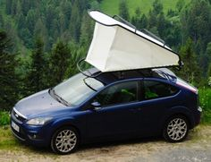 ÉCAL graduate Sebastian Maluska has created a simple rooftop tent that can fit on to the roof of any car. Rooftop Tent Camping, Best Tents For Camping, Rv Camping, Camping Hacks, Top Tents, Roof Top Tent, Popup Camper, Truck Camper, Trailers
