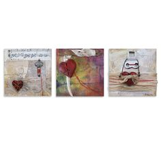 Loveland artist, Becky Hawley, uses found objects in her art. These are sweet memories for Valentine's Day, a specialty for Loveland. Find Objects, Sweet Memories, Colorado, Valentines Day, Culture, Artist, Fun, Painting, Valentine's Day Diy