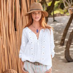 "ROMANCING THE SEA TOP -- Love is in the details of this cotton top for women. Tonal, tribal-inspired embroidery and top-applied lace over airy cotton voile. Delicate, shell buttons and side vents. Cotton. Machine wash. Imported. Exclusive. Sizes XS (2), S (4 to 6), M (8 to 10), L (12 to 14), XL (16). Approx. 27-1/2""L."