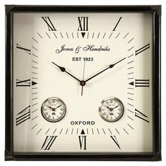Square-shaped wall clock with a Roman numeral dial.     Product: Wall clockConstruction Material: Engineered wood and...