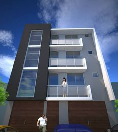 Diseño para un edificio de apartamentos en la ciudad de Tacna. Narrow House Designs, Modern Exterior House Designs, Modern House Design, Mix Use Building, High Building, Building Design, Front Elevation Designs, House Elevation, Duplex House Plans