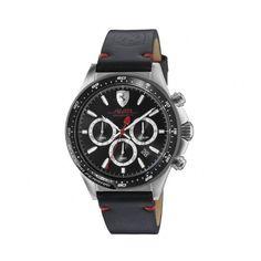 Racing Driver's Chronograph Watch (£240) ❤ liked on Polyvore featuring jewelry, watches, chronograph watch, black and silver jewelry, chronograph wrist watch, chronos watch and black silver watches