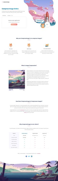 Neat One Pager for a new online image compressor. Quite a few of these online but this stood out and worth a bookmark. Works really well, then throw in some cheeky branding (with a rocket launch upon compression) and you got a new fan! Rocket Launch, One Page Website, First Page, Online Images, News Online, Product Launch, Branding, Fan, Brand Management