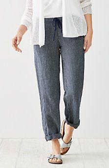 linen drawstring-waist pinstriped pants