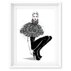 Limited Edition Print Lace Avant Garde - Megan Hess