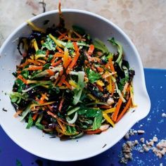 "Seaweed, ginger and carrot salad.ginger 2"", 5 tb vin, 1tb superfine sug,2/3c peanut,2 tb sesame, 2 tb lime, 1 tb oil, 1 1/2c cilantro, 2/3C Mint,"