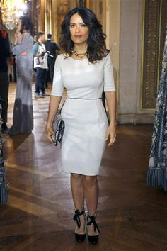Salma Hayek attends the Stella McCartney fashion house presentation for Women's Fall-Winter, ready-to-wear 2013 fashion collection, during Paris Fashion week on March 5, 2012.