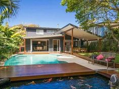 4 bedroom, 3 bathroom house in 16 Elvina Avenue, Avalon Beach NSW 2107 sold on View listing details on Domain Outdoor Rooms, Modern Pools, House Deck, House, Skillion Roof, Pool Renovation, Pool Cabana, House Roof, House Exterior