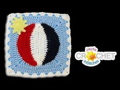 Beach Ball Blanket Square - Crochet Motif - July - YouTube