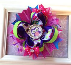 Purple, Pink and LIme Green Owl Boutique Hair bow, Stacked Boutique Bow on Etsy, $12.50