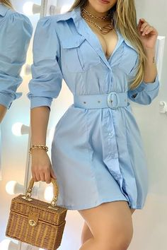 Dress Outfits, Fashion Dresses, Casual Outfits, Cute Outfits, Office Dresses For Women, Clothes For Women, Blue Long Sleeve Dress, Trend Fashion, Dark Fashion