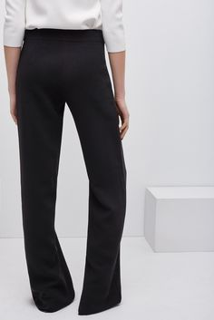 Wide-Leg Belted Crepe Trousers - skirts and trousers | Adolfo Dominguez shop online