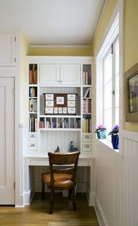 The mail ends up in the kitchen, so this mail sorting and supplies desk in the kitchen would be so handy. Especially like the cubbies--could be enlarged and labeled to handle bills, reading material, paper to be filed, and the like. Houzz. Classic White Landmark Home - traditional - kitchen - san diego - by Hamilton-Gray Design, Inc.